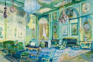 """Room With Green Boiseries, "" 2012 egg tempera on linen"